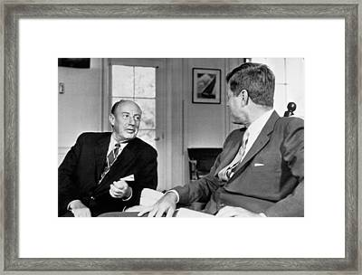 Kennedy And Adlai Stevenson Framed Print by Underwood Archives