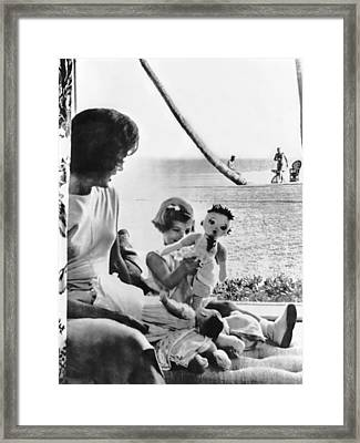 Kennedy Family At Palm Beach Framed Print by Underwood Archives
