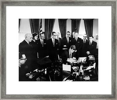 Kennedy Signing The 1962 Drug Amendments Framed Print by Food & Drug Administration