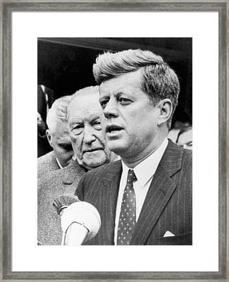 Kennedy With Konrad Adenauer Framed Print by Underwood Archives