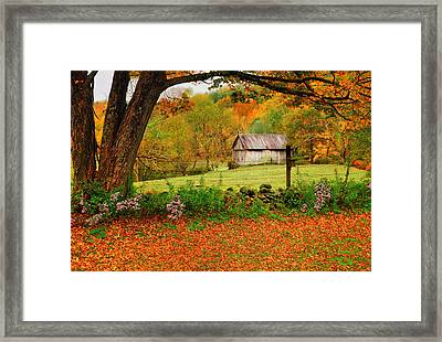 Kent Hollow-connecticut Autumn Scenic Framed Print by Thomas Schoeller