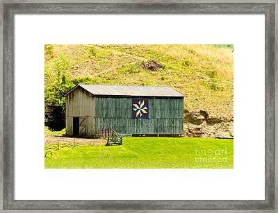 Kentucky Barn Quilt - Americana Star Framed Print by Mary Carol Story
