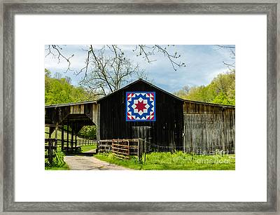 Kentucky Barn Quilt - Carpenters Wheel Framed Print by Mary Carol Story