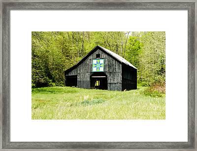 Kentucky Barn Quilt - Darting Minnows Framed Print by Mary Carol Story