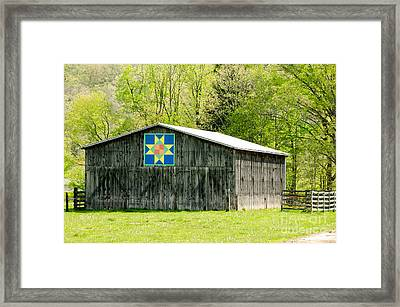 Kentucky Barn Quilt - Eight-pointed Star Framed Print by Mary Carol Story