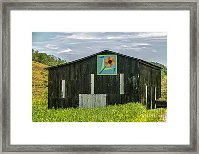 Kentucky Barn Quilt - Flower Of Friendship Framed Print by Mary Carol Story