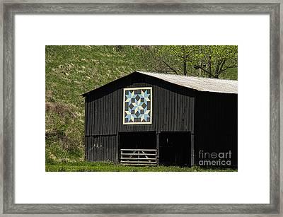 Kentucky Barn Quilt - Snow Crystals Framed Print by Mary Carol Story