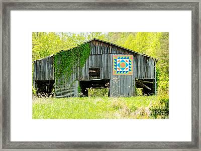 Kentucky Barn Quilt - Thunder And Lightening Framed Print by Mary Carol Story
