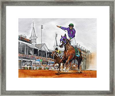 Kentucky Derby Winner California Chrome Framed Print by Dave Olsen