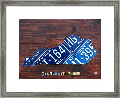 Kentucky License Plate Map The Bluegrass State Framed Print by Design Turnpike