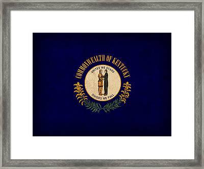 Kentucky State Flag Art On Worn Canvas Framed Print by Design Turnpike