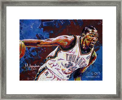 Kevin Durant Framed Print by Maria Arango