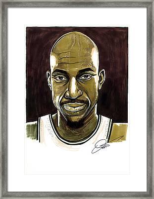 Kevin Garnett Portrait Framed Print by Dave Olsen