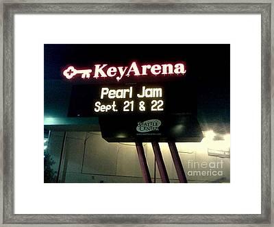 Key Arena Pearl Jam Framed Print by Linda De La Rosa