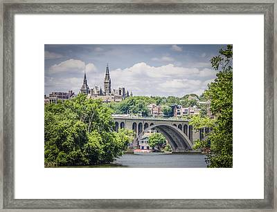 Key Bridge And Georgetown University Framed Print by Bradley Clay
