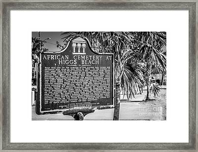 Key West African Cemetery Sign Landscape - Key West - Black And White Framed Print by Ian Monk