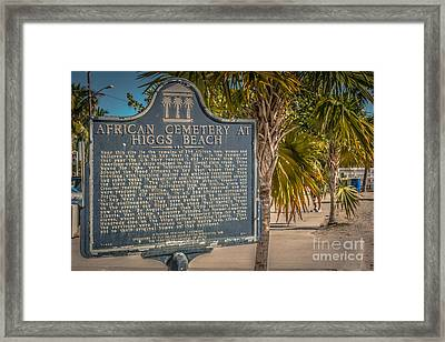 Key West African Cemetery Sign Landscape - Key West - Hdr Style Framed Print by Ian Monk