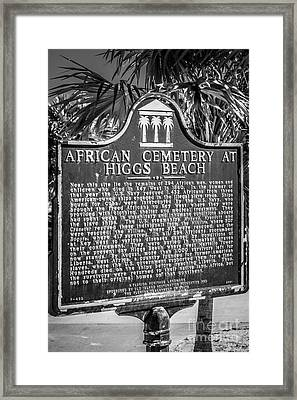 Key West African Cemetery Sign Portrait - Key West - Black And W Framed Print by Ian Monk