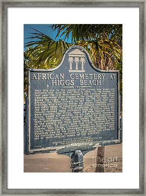 Key West African Cemetery Sign Portrait - Key West - Hdr Style Framed Print by Ian Monk