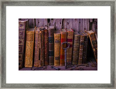 Keys And Books Framed Print by Garry Gay