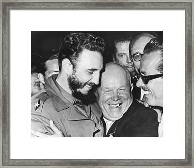 Khrushchev And Castro Framed Print by Underwood Archives