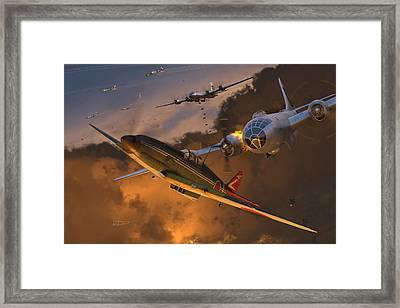Ki-61 Hien Vs. B-29s Framed Print by Robert Perry