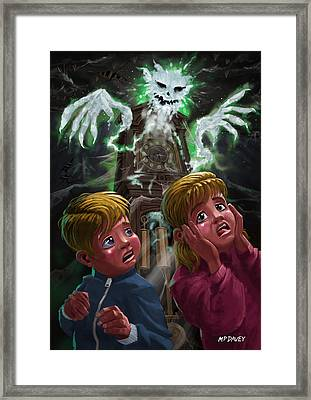 Kids With Haunted Grandfather Clock Ghost Framed Print by Martin Davey