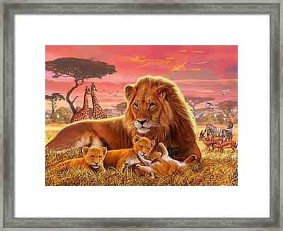 Kilimanjaro Male Lion With Cubs Framed Print by Steve Crisp
