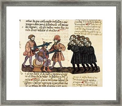 Killing Of King Belshazzar, 1430 Artwork Framed Print by Patrick Landmann