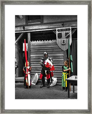 King Arthur Pendragon And Squires Framed Print by John Straton