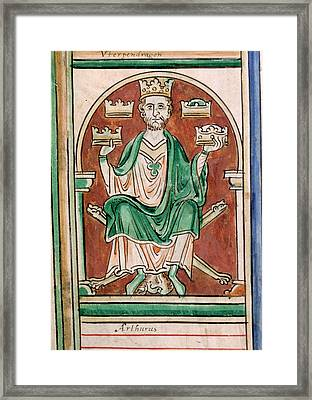 King Arthur Seated Framed Print by British Library