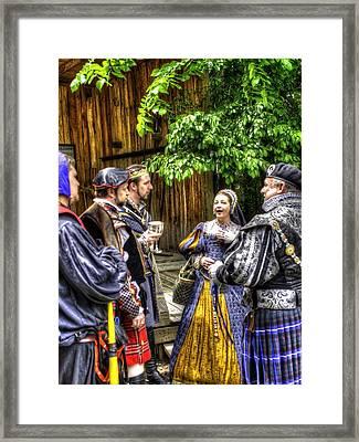 King Arthur With Court At Gandalf's Garden Avalon Framed Print by John Straton
