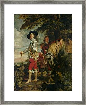 King Charles I 1600-49 Of England Out Hunting, C.1635 Oil On Canvas Framed Print by Sir Anthony van Dyck