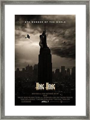 King Kong Custom Poster Framed Print by Jeff Bell