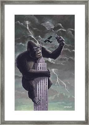 King Kong Plane Swatter Framed Print by Martin Davey