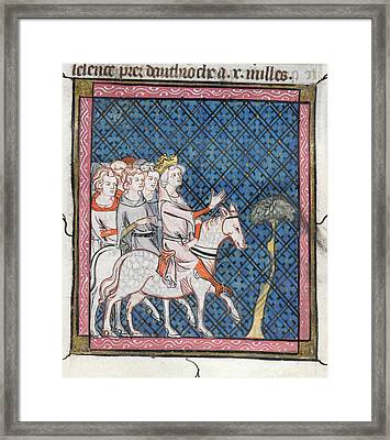 King Louis Vii Rides To Antioch Framed Print by British Library