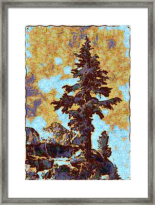 Kings River Canyon Colorized Framed Print by Ansel Adams