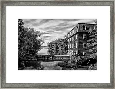 Kingston Mill - Princeton Nj In Black And White Framed Print by Bill Cannon