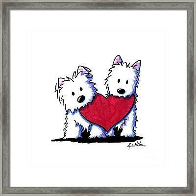 Kiniart Westie Heartfelt Duo Framed Print by Kim Niles