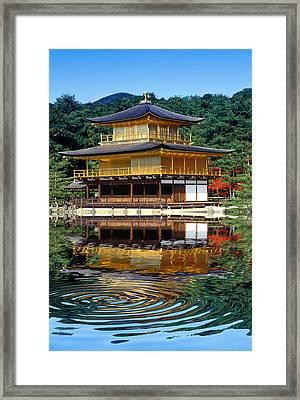 Kinkakuji Gold Pavilion Reflection Framed Print by Robert Jensen