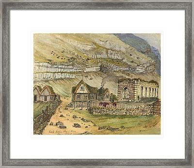 Kirk G Boe Inn And Ruins Faroe Island Circa 1862 Framed Print by Aged Pixel