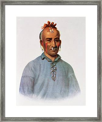 Kish-kal-wa, A Shawnee Chief, Illustration From The Indian Tribes Of North America, Vol.1 Framed Print by American School