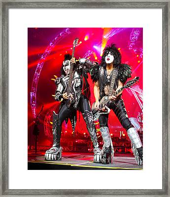 Kiss - 40th Anniversary Tour Live - Simmons And Stanley Framed Print by Epic Rights
