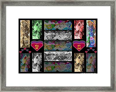 Kiss Me Hot Stuf Poster Framed Print by Marian Bell