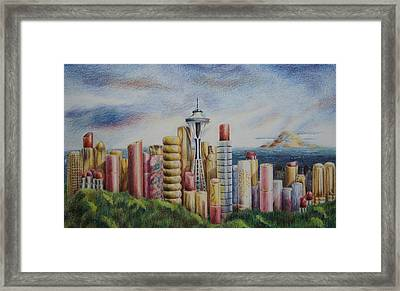 Kiss Of Seattle Framed Print by Mary Jo Jung
