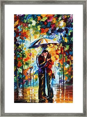 Kiss Under The Rain 2 Framed Print by Leonid Afremov