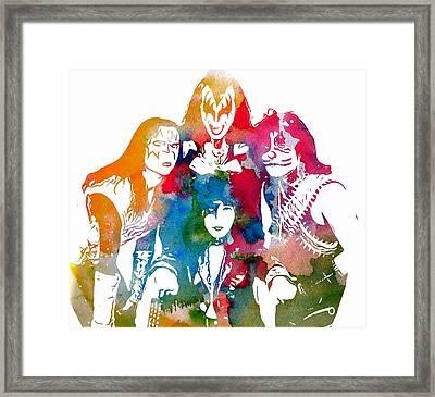 Kiss Watercolor Pop Art Framed Print by Dan Sproul