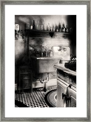 Kitchen - An Old Kitchen Framed Print by Mike Savad