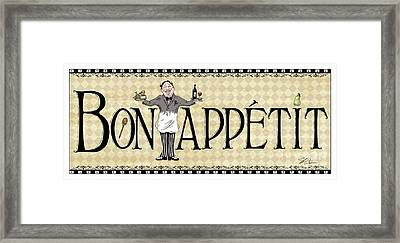 Kitchen Sign-bon Appetit Framed Print by Shari Warren