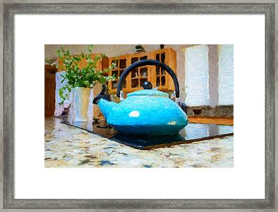 Kitchen Tea Pot Framed Print by Adele Buttolph